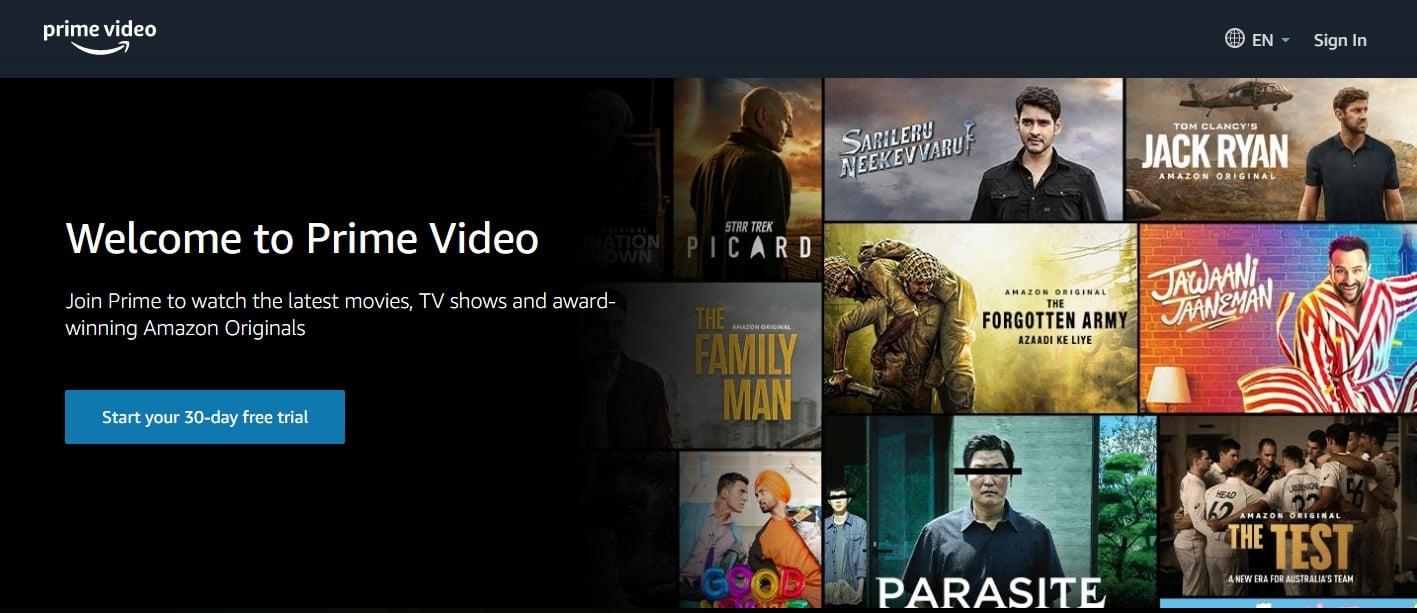 Top 10 Movie Download Sites : Amazon prime video