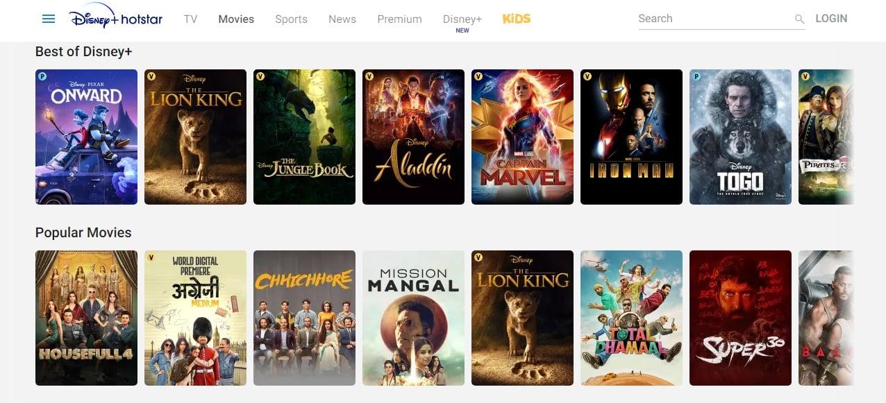 Top 10 Movie Download Sites : Disney Hotstar